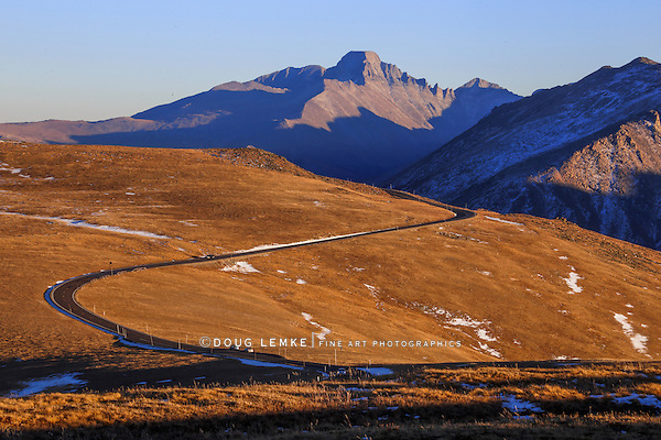 A winding road above the tree line in the high country of Rocky Mountain National Park, Colorado, USA