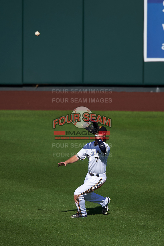 Surprise Saguaros outfielder Brett Phillips (7) catches a fly ball during an Arizona Fall League game against the Salt River Rafters on October 20, 2015 at Salt River Fields at Talking Stick in Scottsdale, Arizona.  Surprise defeated Salt River 3-1.  (Mike Janes/Four Seam Images)