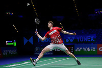 14th March 2020, Arena Birmingham, Birmingham, UK; Denmarks Anders Antonsen competes during the mens singles semifinal match with Chinese Taipeis Chou Tien Chen at All England Badminton 2020 in Birmingham