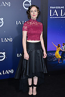 Actress Anna Chazelle at the Los Angeles premiere for &quot;La La Land&quot; at the regency Village Theatre, Westwood. <br /> December 6, 2016<br /> Picture: Paul Smith/Featureflash/SilverHub 0208 004 5359/ 07711 972644 Editors@silverhubmedia.com