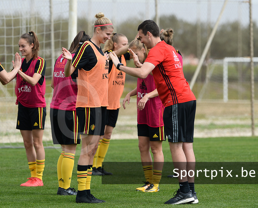 20180306 - LARNACA , CYPRUS :  Belgian Justine Vanhaevermaet and physical trainer Gil Benedetti (r) pictured during a Matchday -1 training from The Belgian Red Flames prior to their game against South Africa , on tuesday 6 March 2018 at the Alpha Sports Grounds in Larnaca , Cyprus . This will be the final game for Belgium during the Cyprus Womens Cup for a battle for the 5th place , a prestigious women soccer tournament as a preparation on the World Cup 2019 qualification duels. PHOTO SPORTPIX.BE | DAVID CATRY