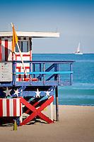 lifeguard stand, Miami Beach, South Beach, ocean, vacation, travel, Florida