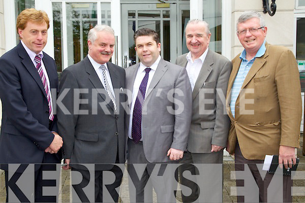 Pictured attending the Business briefing on the Stability Treaty in the Dromhall Hotel, Killarney, on Friday from left: Vince Casey, George McSweeney, Tom Randles, Tim O?Shea and Paudie O?Mahoney, all from Killarney..