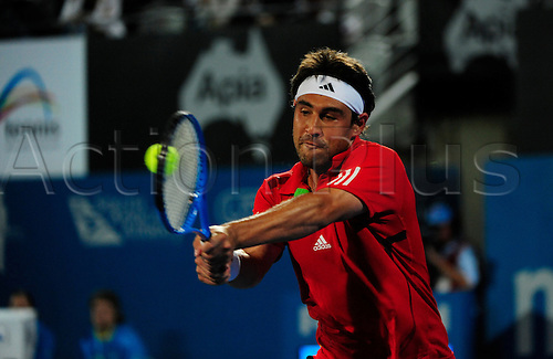 12.01.2012 Sydney, Australia. Baghdatis in action during the first men's Semi Final game. uan Martin Del Potro (ARG) V Marcos Baghdatis (CYP). Baghdatis defeats Del Potro 7-6 6-4 on centre court at the Australian Apia International
