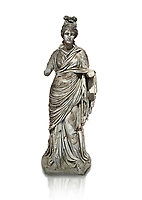 Roman statue of a woman. Marble. Perge. 2nd century AD. Inv no 2015/186. Antalya Archaeology Museum; Turkey. Against a white background.