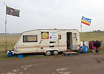 Caravan campaign banner Peace flag for 'Free Stonehenge, access campaign, Stonehenge, Wiltshire, England, UK
