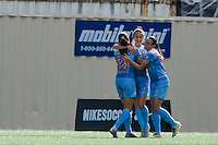 Seattle, WA - Sunday, May 22, 2016: Chicago Red Stars forward Jennifer Hoy (2) celebrates her first goal of the match, during a regular season National Women's Soccer League (NWSL) match at Memorial Stadium. Chicago Red Stars won 2-1.
