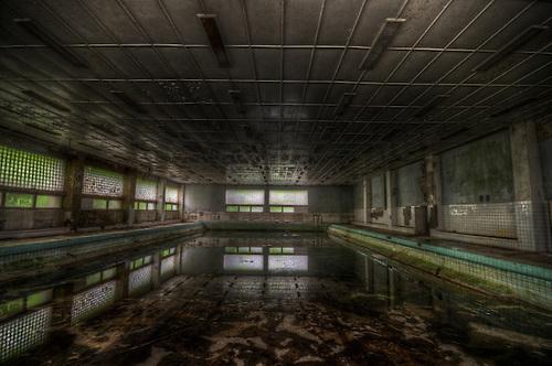 Old unused Soviet sports hospital in East Germany,swimming pool