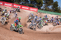 Race start at Spanish Motocross Championship at Albaida circuit (Spain), 22-23 February 2014