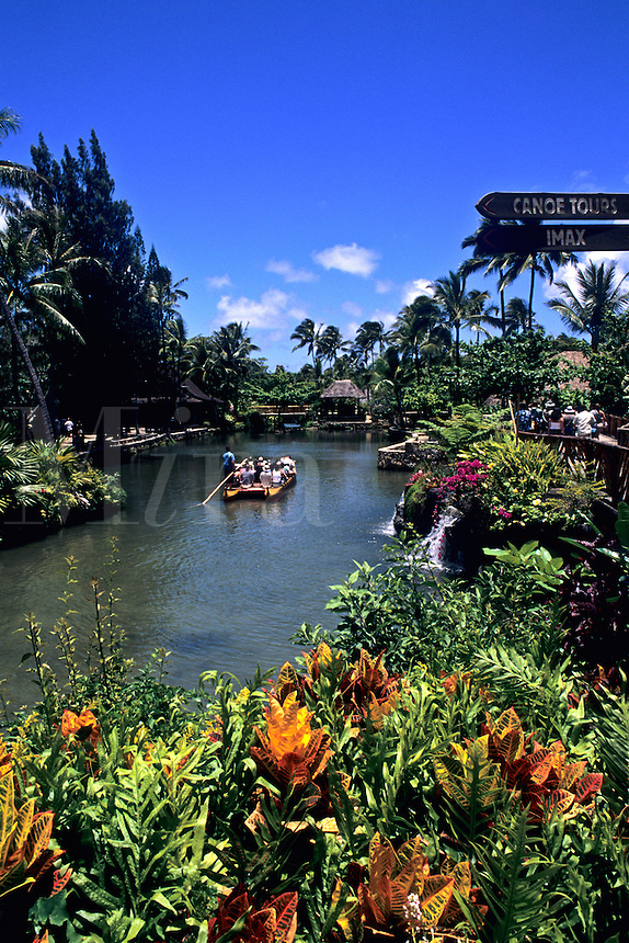Polynesian Cultural Center Tourist Boats Guided Thru Beautiful Village in Hawaii USA.