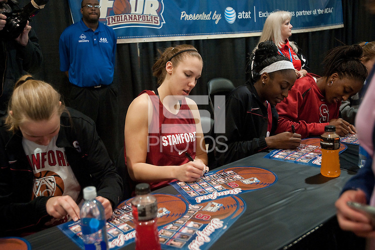 INDIANAPOLIS, IN - APRIL 2, 2011: Kayla Pedersen during the post-practice autograph session at Conseco Fieldhouse at the NCAA Final Four in Indianapolis, IN on April 1, 2011.