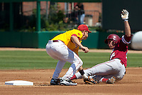 LOS ANGELES, CA - April 10, 2011: Stephen Piscotty of Stanford baseball slides safely into second on a steal during Stanford's game against USC at Dedeaux Field in Los Angeles. Stanford lost 6-2.
