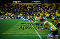 Beauden Barrett takes a restart during the Super Rugby quarterfinal match between the Hurricanes and Chiefs at Westpac Stadium in Wellington, New Zealand on Friday, 20 July 2018. Photo: Dave Lintott / lintottphoto.co.nz