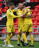 Fleetwood Town's James Wallace celebrates scoring his side's second goal with Paddy Madden & Ched Evans<br /> <br /> Photographer David Shipman/CameraSport<br /> <br /> The EFL Sky Bet League One - Doncaster Rovers v Fleetwood Town - Saturday 6th October 2018 - Keepmoat Stadium - Doncaster<br /> <br /> World Copyright © 2018 CameraSport. All rights reserved. 43 Linden Ave. Countesthorpe. Leicester. England. LE8 5PG - Tel: +44 (0) 116 277 4147 - admin@camerasport.com - www.camerasport.com