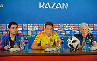 KAZAN - RUSIA, 23-06-2018: Santiago ARIAS (C) jugador y Jose PEKERMAN (Der) técnico de Colombia, durante rueda de prensa en Kazan Arena previo al encuentro del Grupo H  con Polonia como parte de la Copa Mundo FIFA 2018 Rusia. / Santiago ARIAS (C) player and Jose PEKERMAN coach of Colombia during press conference in Kazan Arena prior the group H match with Poland as part of the 2018 FIFA World Cup Russia. Photo: VizzorImage / Julian Medina / Cont