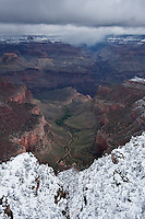 Snow covered rim of Crand Canyon, Arizona, USA