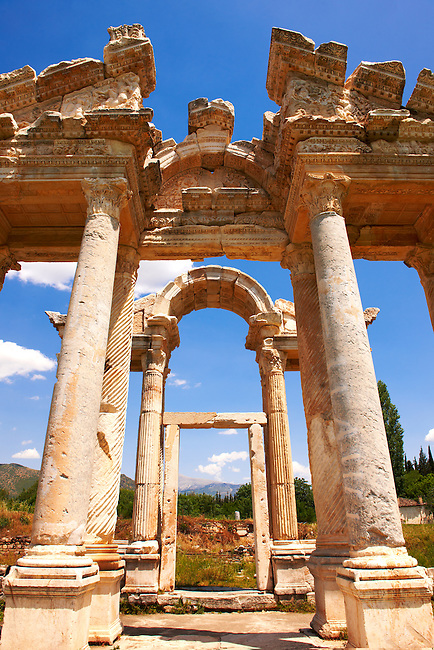 "Picture of the double Tetrapylon Gate, Aphrodisias, Turkey. A tetrapylon (Greek: Τετράπυλον, ""four gates"") is an ancient type of Roman monument of cubic shape, with a gate on each of the four sides: generally it was built on a crossroads. stock photos & photo art prints. 9"