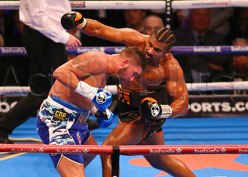 March 4th 2017, O2 Arena, London England; Heavyweight Boxing David Haye versus Tony Bellew; David Haye lands a left hook on Tony Bellew, during the Heavyweight contest