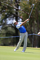 Ricardo Santos (POR) on the 18th during Round 1 of the ISPS HANDA Perth International at the Lake Karrinyup Country Club on Thursday 23rd October 2014.<br /> Picture:  Thos Caffrey / www.golffile.ie