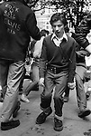 Teenagers Kings Road Chelsea London Uk 1977. Saturday afternoon in the Kings  Road, impromptu jive by young Teddy Boys who have gathered outside the Boy boutique, and then gone across the road and jived in   square.