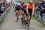 Greg Van Avermaet (BEL) CCC Team and John Degenkolb (GER) Trek-Segafredo through the Trouee d'Arenberg during the 117th edition of Paris-Roubaix 2019, running 257km from Compiegne to Roubaix, France. 14th April 2019<br /> Picture: ASO/Pauline Ballet | Cyclefile<br /> All photos usage must carry mandatory copyright credit (&copy; Cyclefile | ASO/Pauline Ballet)