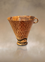 Minoan clay cup decorated with reeds, Zakros Palace  1600-1450 BC; Heraklion Archaeological  Museum.