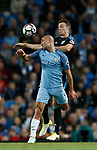 Pablo Zabaleta of Manchester City in action with Jonny Evans of West Bromwich Albion during the English Premier League match at the Etihad Stadium, Manchester. Picture date: May 16th 2017. Pic credit should read: Simon Bellis/Sportimage