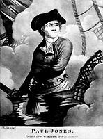 Paul Jones.  Portrait of John Paul Jones.  Copy of mezzotint after C. J. Motte, ca.  1780s.   (George Washington Bicentennial Commission)<br /> Exact Date Shot Unknown<br /> NARA FILE #:  148-GW-462<br /> WAR & CONFLICT #:  45