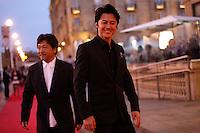 Director Hirokazu Kore-eda (L) and actor Masaharu Fukuyama (R) during the 61 San Sebastian Film Festival, in San Sebastian, Spain. September 20, 2013. (ALTERPHOTOS/Victor Blanco) /NortePhoto