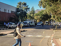 Großaufgebot der Polizei in Hout Bay, Kapstadt, Südafrika am 27.3.2019, wenige Stunden nachdem vier Fahrer erschossen wurden.