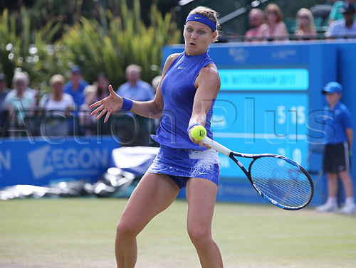 June 16th 2017, Nottingham, England;WTA Aegon Nottingham Open Tennis Tournament day 5;  Lucie Safarova of Czech Republic plays a forehand  in her match against Tsvetana Pironkova of Bulgaria
