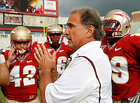TALLAHASSEE, FL 10/31/09-FSU-NCST FB09 CH64-Florida State Linebackers Coach Chuck Amato talks to his players before the N.C. State game Saturday at Doak Campbell Stadium in Tallahassee. .COLIN HACKLEY PHOTO