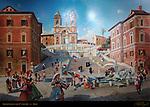 Painting of Spanish Steps in the 18th Century Scalinata della Trinita dei Monti Pincio Hill Piazza di Spagna Rome