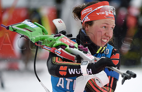 04.03.2016. Holmenkollen, Oslo, Norway.  Female Biathlete Laura Dahlmeier of Germany in shooting action during a training session at the Biathlon World Championships, in the Holmenkollen Ski Arena, Oslo, Norway, 04 March 2016.