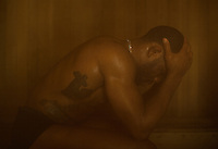 Olympic Gold champion wrestler Jordan Burroughs (cq), sits in a sauna to loose weight before the Pan American Championships in Frisco, Texas, Friday, February 26, 2015. Burroughs wrestled at 74 kg/163 lbs.<br /> <br /> Photo by Matt Nager