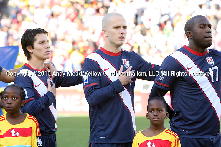 18 JUN 2010: (l to r): Jose Torres (USA), Michael Bradley (USA), Jozy Altidore (USA). The Slovenia National Team tied the United States National Team 2-2 at Ellis Park Stadium in Johannesburg, South Africa in a 2010 FIFA World Cup Group C match.