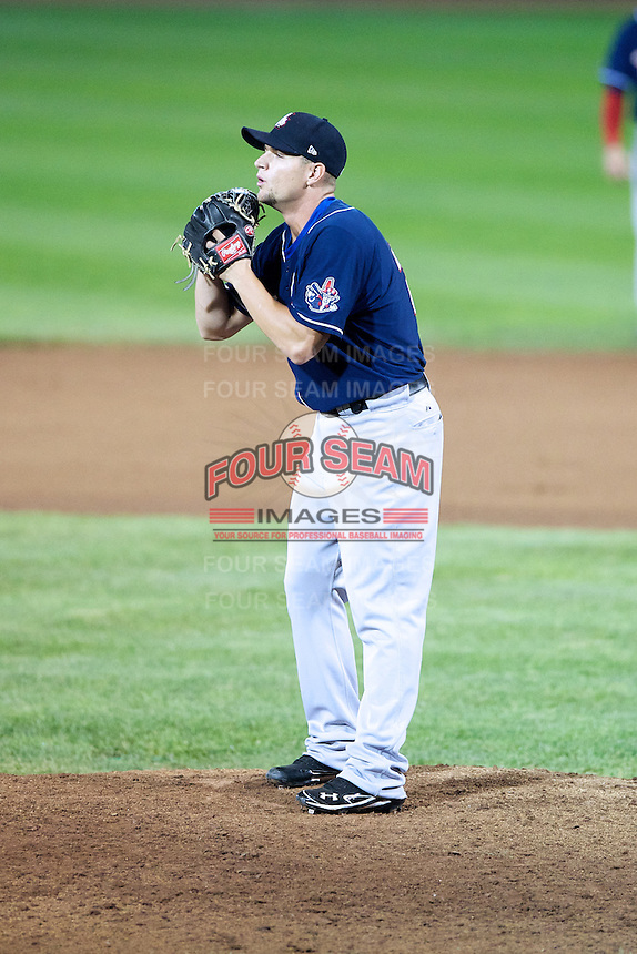 New Hampshire Fisher Cats pitcher Chorye Spoone #28 during an Eastern League game against the Erie Seawolves at Jerry Uht Park on August 9, 2012 in Erie, Pennsylvania.  Erie defeated New Hampshire 6-0.  (Mike Janes/Four Seam Images)