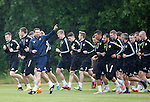 Motherwell manager Ian Baraclough leads the way as the players report back for pre-season training