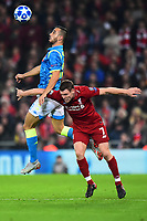 Liverpool's James Milner goes up for a header<br /> <br /> Photographer Richard Martin-Roberts/CameraSport<br /> <br /> UEFA Champions League Group C - Liverpool v Napoli - Tuesday 11th December 2018 - Anfield - Liverpool<br />  <br /> World Copyright © 2018 CameraSport. All rights reserved. 43 Linden Ave. Countesthorpe. Leicester. England. LE8 5PG - Tel: +44 (0) 116 277 4147 - admin@camerasport.com - www.camerasport.com