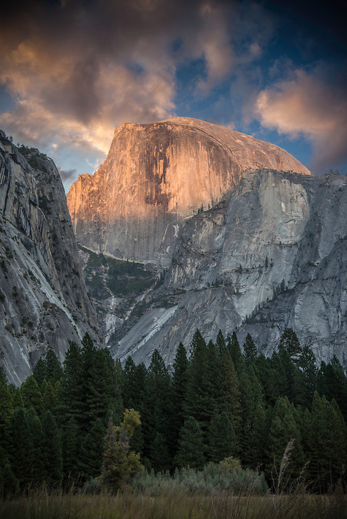 September 2014 / Yosemite National Park landscapes / Half Dome at sunset  as seen from Lower Pines area / Photo  by Bob Laramie