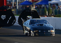 Sept. 29, 2012; Madison, IL, USA: NHRA pro mod driver Leah Pruett during qualifying for the Midwest Nationals at Gateway Motorsports Park. Mandatory Credit: Mark J. Rebilas-