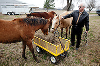 Technical Sales Specialist with IBM Steve Gaylord (cq) works with his horses at his home in Valley View, Texas, Monday, Feb. 22, 2010. Gaylord has been able to take horse training classes due to an education program set up at IBM...PHOTO/ MATT NAGER