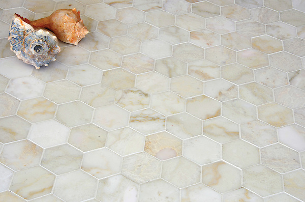 7cm Hex, a handmade mosaic shown in polished Cloud Nine, is part of The Studio Line of Ready to Ship mosaics. All mosaics in this collection are ready to ship within 48 hours. <br />