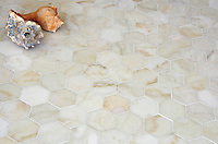 7cm Hex, a handmade mosaic shown in polished Cloud Nine, is part of The Studio Line of Ready to Ship mosaics.