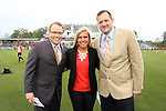 19 April 2014: Carolina RailHawks broadcasters. From left: Play by Play Announcer Dean Linke, Sideline Reporter Amanda Dinkel, Color Commentator John Bouille. The Carolina RailHawks played the Fort Lauderdale Strikers at WakeMed Stadium in Cary, North Carolina in a 2014 North American Soccer League Spring Season match. Carolina won the game 4-1.