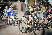 eventual winner Annemiek Van Vleuten (NED/Mitchelton-Scott) at the race roll-out<br />