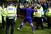5th December 2017; Glasgow, Scotland;  Lukasz Teodorczyk forward of RSC Anderlecht celebrates their win after the Champions League Group B match between Celtic FC and Rsc Anderlecht