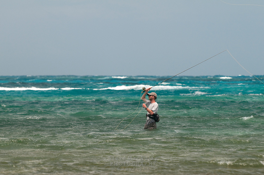"Fly fishing on the ""Flats"", Big Corn Island, Nicaragua"