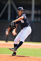 GCL Yankees 1 pitcher Luis Cedeno (91) delivers a pitch during the first game of a doubleheader against the GCL Braves on July 1, 2014 at the Yankees Minor League Complex in Tampa, Florida.  GCL Yankees 1 defeated the GCL Braves 7-1.  (Mike Janes/Four Seam Images)