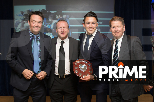 Luke O'Nien (2nd right) receives the Young Player of the Year award during the Wycombe Wanderers End of Season 2016 Awards Dinner at Adams Park, High Wycombe, England on 1 May 2016. Photo by David Horn